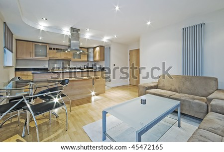 modern luxury open plan apartment with massive kitchen and breakfast bar - stock photo