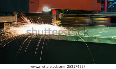 modern machine with laser welding - stock photo