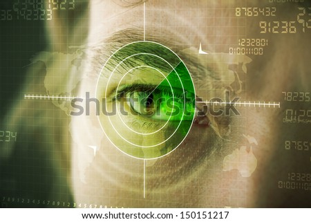 Modern man with cyber technology target military eye concept - stock photo