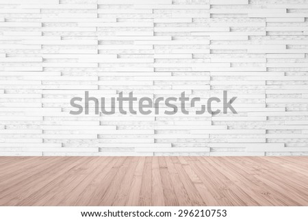 Modern marble tile wall pattern background in light white beige color with wooden floor in red brown tone : Horizontal marble rock stone tiled pattern texture backdrop with wood flooring            - stock photo