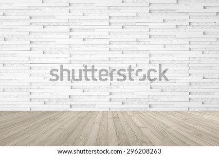 Modern marble tile wall pattern  background in light white color with wooden floor in sepia brown grey tone : Horizontal marble rock stone tiled pattern texture backdrop with wood flooring - stock photo