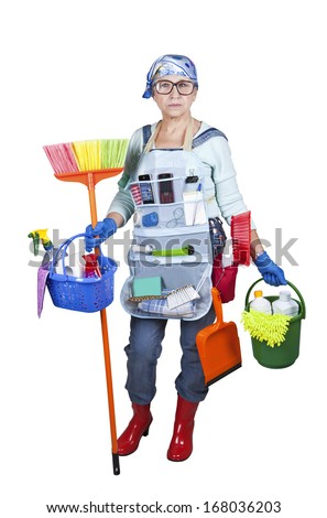 Modern Mature woman cleaner offices - stock photo