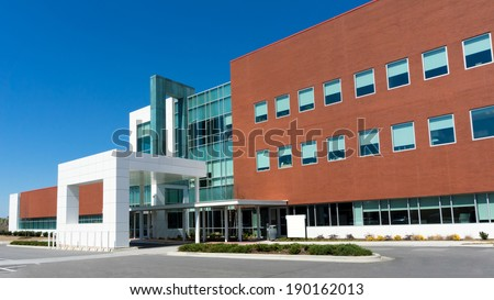 Modern medical center building exterior detail - stock photo