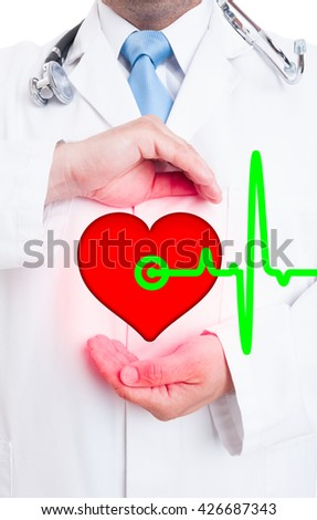 Modern medical technology with professional medic showing heart and pulse as healthy lifestyle concept - stock photo