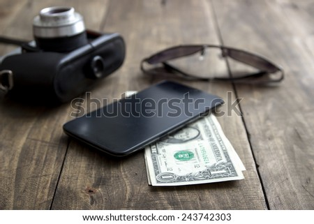 Modern Men's Accessories on table, close up - stock photo