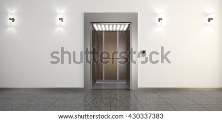 Modern metal elevator with open doors and hall interior 3D illustration - stock photo