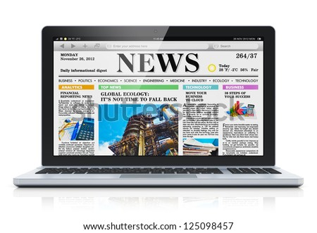 Modern metal glossy office laptop with business news internet web site on screen isolated on white background with reflection effect - stock photo