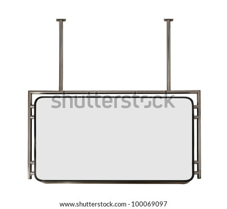 modern metal hanging sign board isolated on white background - stock photo