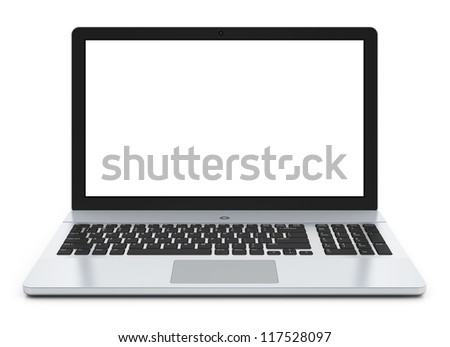 Modern metal office laptop or silver business notebook with blank screen isolated on white background with reflection effect - stock photo