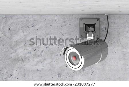Modern Metallic CCTV Camera on the Ceiling - stock photo