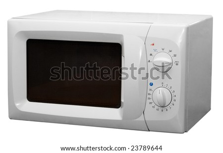 Modern microwave stove isolated on white background - stock photo