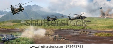 Modern military battle scene with tanks, helicopters and infantry - stock photo