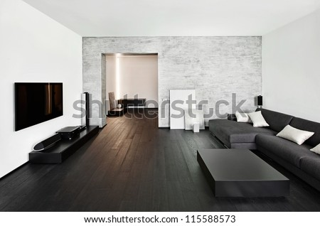 Modern minimalism style drawing-room interior - stock photo