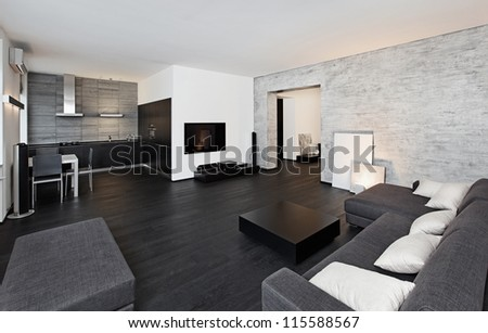 Modern minimalism style drawing-room interior in black and white tones - stock photo