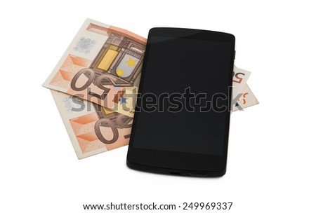 Modern mobile phone and euro banknotes - stock photo
