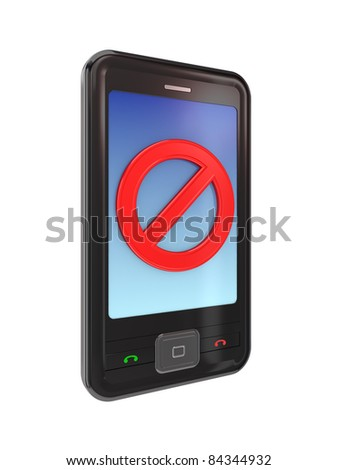 Modern mobile phone with a red stop sign. 3d rendered. Isolated on white background. - stock photo