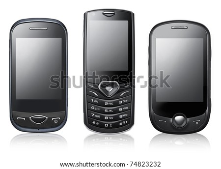 Modern mobile phones isolated on white - stock photo