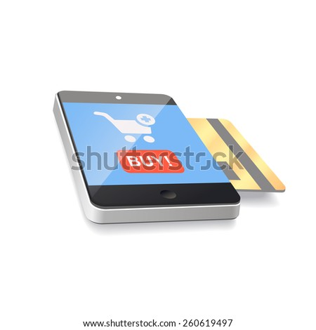 Modern mobile smartphone with credit card.  e-commerce - stock photo