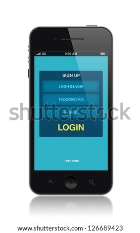 Modern mobile smartphone with login application form on a screen. Isolated on white. High quality and detailed illustration. - stock photo