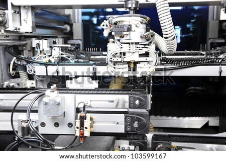 modern model of  industrial machine. inside view on details - stock photo