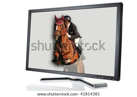 modern monitor with horse jumping out of it - stock photo