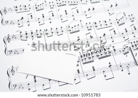 modern musical notes and visit card - stock photo