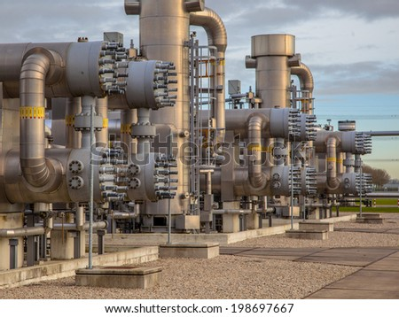 Modern natural gas field  in the Netherlands - stock photo