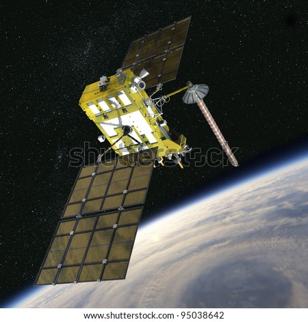 Modern navigation satellite at the orbit - stock photo