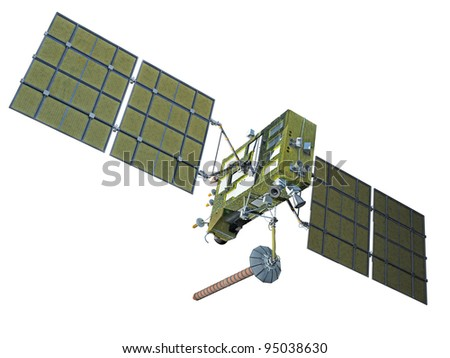 Modern navigation satellite isolated on white - stock photo