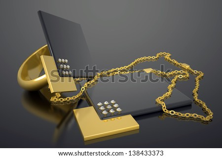 modern necklace and ring made out of gold and diamonds - stock photo