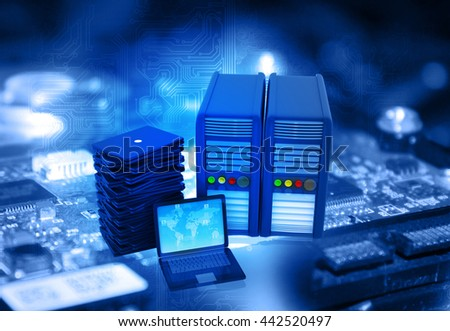 Modern network server and laptop  in data center	 - stock photo