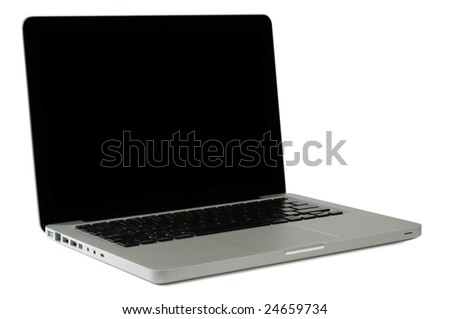 Modern Notebook Isolated on White with Clipping Paths for Laptop and Screen - stock photo