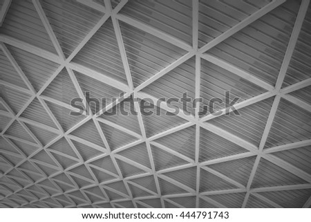 modern of metal roof structure of modern building - stock photo