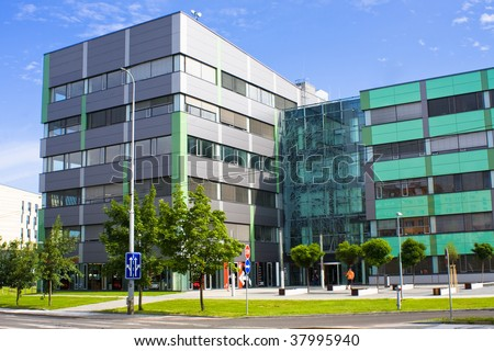 Modern office build in bright day - stock photo