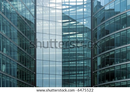 Modern office building glass facade fragment - stock photo