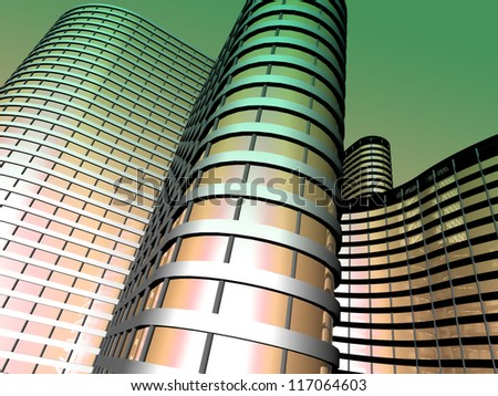 Modern office building made from glass and steel - stock photo