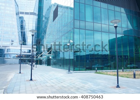 Modern office building with glass facades - stock photo