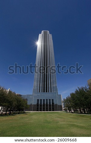 Modern office building with park in Houston, Texas - stock photo