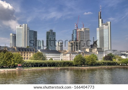 Modern office buildings along the Main river in Frankfurt, Germany - stock photo