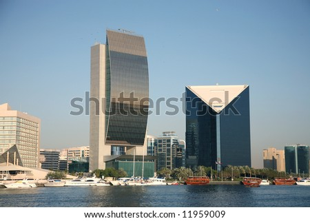 Modern Office buildings by Creek Dubai - stock photo