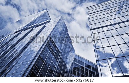Modern Office Buildings in Canary Wharf, London - stock photo