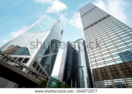 Modern office buildings in central hong kong - stock photo
