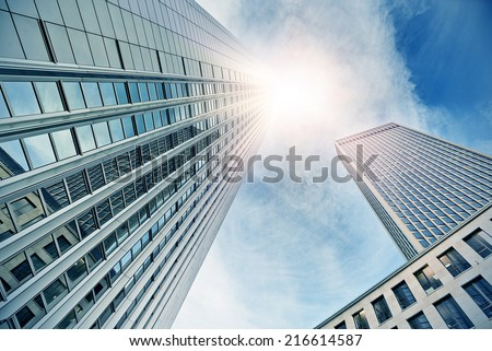 modern office buildings in Frankfurt am Main, Germany - stock photo