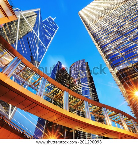 modern office buildings in Hong Kong - stock photo