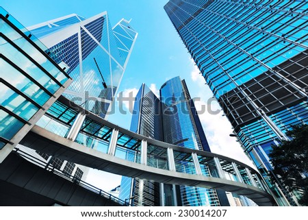 Modern office buildings in Hong Kong - stock photo