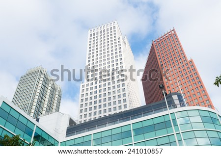 modern office buildings in the hague, netherlands. The Dutch government and parliament are located in the city - stock photo