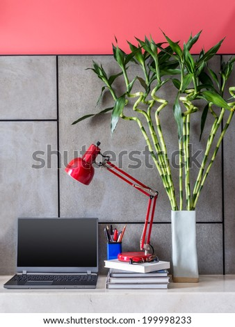 Modern office desk with laptop, lamp and vase of  Lucky bamboo - stock photo