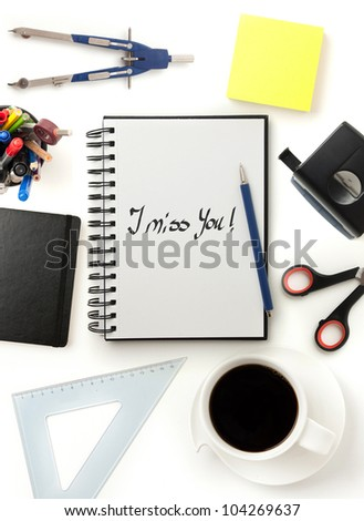 modern office desktop with note - stock photo