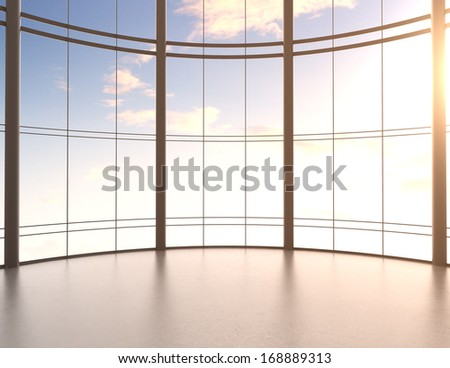 modern office interior and sky view - stock photo