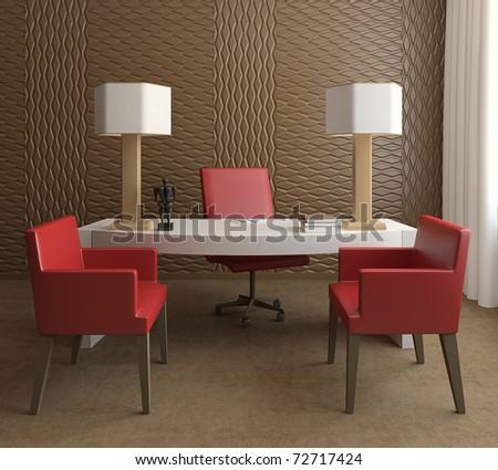 Modern office interior. 3d render - stock photo